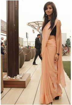 plain nude peach georgette saree $45 Indian Attire, Indian Outfits, Indian Clothes, Chiffon Saree, Saree Dress, Indian Beauty Saree, Indian Sarees, Farewell Sarees, Sarees For Girls