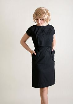 Vintage 1960s Dress  Black Wiggle Dress with Pleat Bodice by zwzzy, $55.00