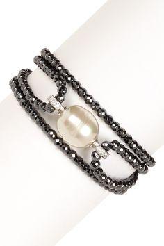 Hematite Beaded 16mm Baroque Pearl Bracelet - vma.
