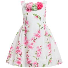Monnalisa Cotton Pink Blossom Floral Dress at Childrensalon.com