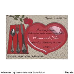 Shop Valentine's Day Dinner Invitation created by markalino. Holiday Invitations, Dinner Invitations, Zazzle Invitations, Invite, Recycling, Valentines Day Holiday, Retirement Parties, Create Your Own Invitations, White Envelopes