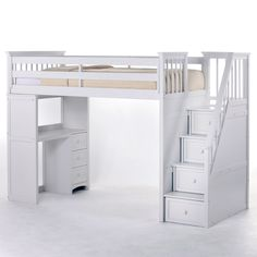 Schoolhouse Stairway Loft Bed - White - Kids Beds at Kids Furniture Mart