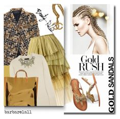 """""""Micro Trend: Solid Gold Sandals"""" by barbarela11 ❤ liked on Polyvore featuring Haider Ackermann, Burberry, Marni, Chanel, Bobbi Brown Cosmetics, goldsandals, polyvoreeditorial and polyvoretopics"""