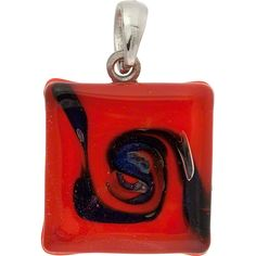 Murano Glass Lampwork Pendant Square Opaque Red & Aventurina