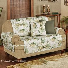 Transport yourself to a tropical retreat with the Paradise Leaf Furniture Protectors, while protecting your furnishings from pets, stains, and dirt. Loveseat Slipcovers, Furniture Slipcovers, Furniture Covers, Find Furniture, Pet Sofa Cover, Sofa Cushion Covers, Decorating Your Home, Diy Home Decor, Tropical Furniture