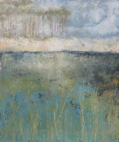 Art. Oil and Cold Wax painting. Grass, water, dunes, trees and sky. . . along scenic 30-A is a wonderful place to be. ClayRoadStudio.com