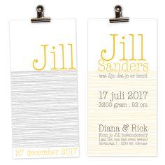 Het geboortekaartje Jill is eenvoudig en vrolijk. Deze kaart wordt gedrukt op structuurpapier voor een luxe uitstraling. Neem een kijkje op de website: www.mijksje.nl Birthannouncement | geboortekaartje | meisje | zonnig | geel | okergeel | zwartwit | Jill | zomers | fris | eenvoudig | scandinavisch | scandi | nordic | nordicstyle | baby | babygirl