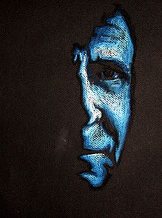 Blue oil pastel drawing of an old man by Laura Kranz—part of the anonymous portraits series