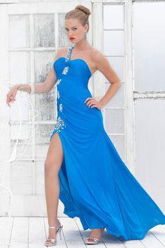 une épaule parole longueur robe de fête en Jersey - Robes de Mariage Boutique