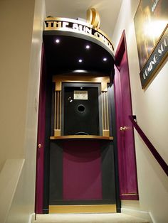 Home Theater in Wall Rack | In-Wall Component Rack as Fake Ticket Booth