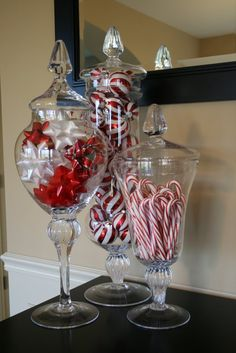 Christmas Apothecary Jars decor