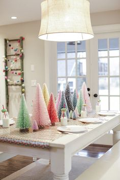 Whimsical Christmas Tablescapes & Centerpieces — Ravishing in Plaid - Brittany Burke Whimsical Colorful Table Decor for Whimsical Christmas, Mini Christmas Tree, Pink Christmas, Winter Christmas, All Things Christmas, Christmas Home, Christmas Crafts, Colorful Christmas Decorations, Colorful Christmas Tree