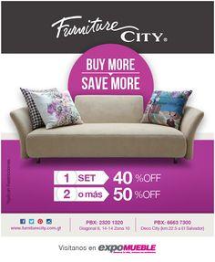 BUY MORE , SAVE MORE. Compra 1 set y obten el 40% de descuento y si compras 2 set obten el 50% de descuento... solo en Furniture City.