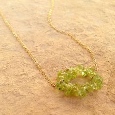 Green Peridot Necklace August Birthstone Gold by jewelrybycarmal, $36.00
