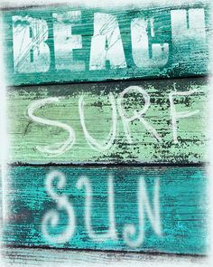 Vintage Beach Sign Art Print  - Beach Surf Sun Aqua Green Blue