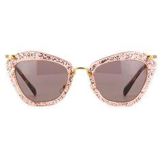 b0440ad5b5 Miu Miu Noir Pink Glitter Sunglasses ❤ liked on Polyvore featuring  accessories