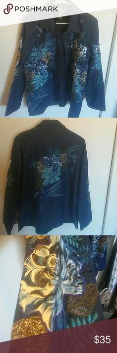 Indigo moon jean jacket bright beaded medium Like new georgous jacket indigo moon Jackets & Coats Jean Jackets
