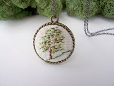 Hand Embroidered Round Necklace Modern Hand by myLITTLEbigBoutique