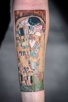 Klimt's Kiss tattoo on a woman's forearm by Alice Kendall   wonderland tattoo, Portland, OR --- Love this!