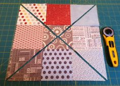 Simple 9-patch from charm squares becomes more interesting when you slice it up and switch them around.