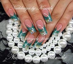 Color French acrylic nail design