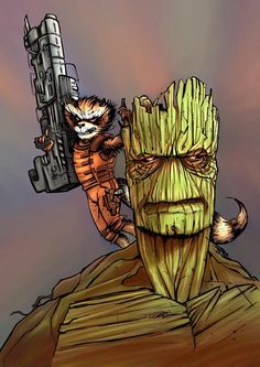 Rocket and Groot.