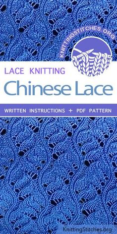 Chinese Lace Chinese Lace Stitch Pattern is found in the Eyelet and Lace Stitches category. FREE written instructions, PDF knitting p. Lace Knitting Stitches, Crochet Stitches Patterns, Knitting Charts, Lace Patterns, Easy Knitting, Loom Knitting, Stitch Patterns, How To Purl Knit, Knit Lace