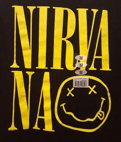 Nirvana :->< Smile - Black Yellow MEDIUM-SIZED  T-shirt New NWT #Nirvana #TShirt