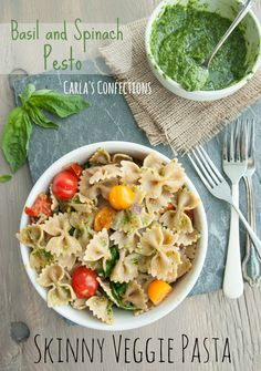 Skinny Veggie Pasta with Basil and Spinach Pesto #BHGSummer