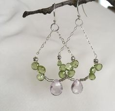 Peridot and amethyst briolettes dangle earrings on sterling