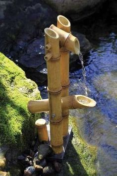 Buy----Deer Scarer Bamboo Fountain pump included-water-garden-pond-container-patio-deck