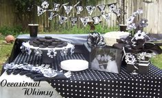 black and white party decorations for our oreo party of course