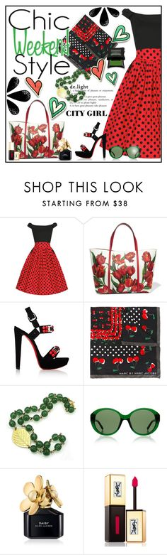"""""""Coffee with Cara"""" by ladychatterley ❤ liked on Polyvore featuring Dolce&Gabbana, Christian Louboutin, Marc by Marc Jacobs, The Row, Marc Jacobs, Yves Saint Laurent and Illamasqua"""