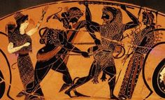 Apollo and Herakles fighting over the #delphic #Tripod    #Hercules goes to the #oracle of #Delphi, but the Oracle refuses to answer him.  In a rage, Herakles attempts to steel the sacred tripod which #apollo tries to take back.