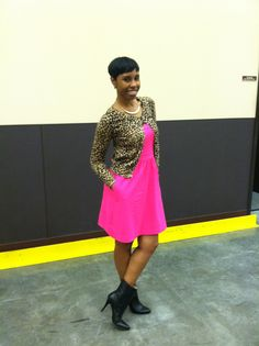 Hot pink and animal print combo Cardigan- H&M Hot pink dress with side pockets (Cynthia Rowley) - TJ Maxx Black ankle booties (INC) - Macy's