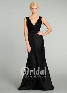 Black Lace Bodice Sleeveless Scalloped V-neckline Satin Floor Length Mother Dress