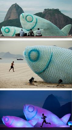 Eco Art in Rio de Janeiro Brazil...  A fish sculpture constructed from discarded plastic bottles rises out of the sand at Botafogo beach in Rio de Janeiro, Brazil, on June 19, 2012. The city is host to the UN Conference on Sustainable Development, or Rio+20, which runs through June 22.