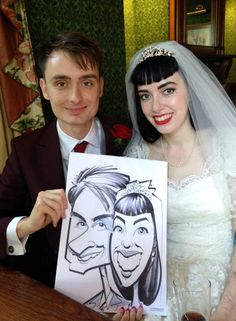 All day wedding caricatures from Great Yarmouth, drawn by the Wedding Artist