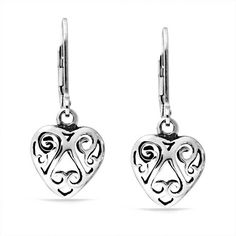Bling Jewelry Cut Out Swirl Celtic Heart Sterling Silver Dangle Earrings >>> Want additional info? Click on the image. (This is an affiliate link) #NiceJewelry