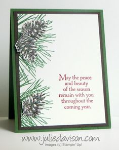 Stampin' Up! Clean and Simple Glittered Pinecones Ornamental Pine Christmas Card #stampinup www.juliedavison.com