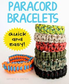 Paracord bracelets are a faster and easier alternative to the Rainbow Loom craze! Cord can handle 550 lbs and can be disassembled and used in an emergency!