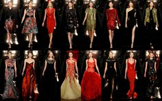 Monique Lhuillier's Fall 2012 collection presented us with bold shades of scarlet, enigmatic ebony and lustrous gold. Graphic print dresses were belted for a more curvaceous silhouette, while irresistibly seductive gowns flowed like lava. I loved the extravagant red ruffled gown (pictured bottom row). Lace and beadwork adorned the many evening gowns, which we will be sure to see soon on the red carpet.