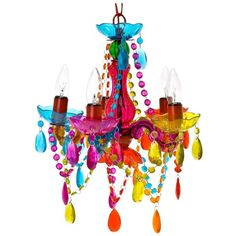 Silly 5 Arm Small Gypsy Lamp Chandelier with Plug- Multicolor (€45) found on Polyvore