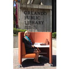 Mary Anne Hodel, Library Director and CEO of Orange County Library System takes a break in The POD at Orlando Public Library this week. http://www.agati.com/pod-workstation/