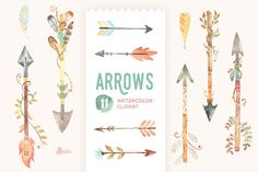 Arrows Watercolor Clipart by OctopusArtis on Creative Market