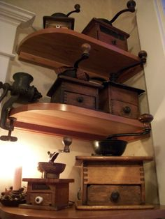 Coffee grinders on a shelf - minus the primitive touches Bunn Coffee, Coffee Tin, Fresh Coffee, Vintage Coffee, Coffee Beans, Coffee Cups, Coffee Maker, Vintage Wood, Antique Coffee Grinder