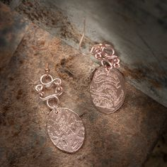 18K rose gold plated engraved earrings. Swirl earrings. Made in Italy. Italian jewelry