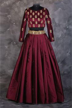 The Stylish And Elegant Lehenga Choli In Maroon Colour Looks Stunning And Gorgeous With Trendy And Fashionable Embroidery . The Silk Fabric Party Wear Lehenga Choli Looks Extremely Attractive And Can . Party Wear Lehenga, Red Lehenga, Lehenga Choli, Bridal Lehenga, Anarkali Kurti, Lehenga Skirt, Lehenga Blouse, Sabyasachi, Indian Gowns