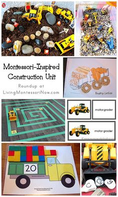 "Roundup post with lots of fun Montessori-inspired construction activities for preschoolers. Would leave out the ""hide the vegetables"" montessori aspect though. Construction Theme Preschool, Construction Crafts, Construction Business, Construction Birthday, Construction Design, Construction Worker, Transportation Activities, Montessori Preschool, Montessori Elementary"