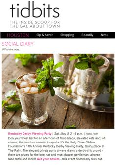 Social Diary Off to the races. Thank you Houston Tidbits for featuring our event! Proudly sponsored by Utopia MedSpa: Kentucky Derby Viewing Party